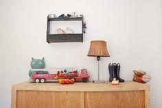 Vintage toys, handmade dresser, little boy's room.