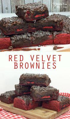 Red Velvet Brownies recipe with Oreo cookies. Yum!