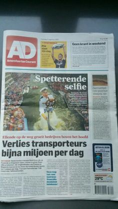 "Front page national news paper ""Selfie of the year"""