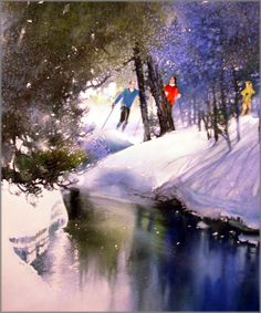 Nita Engle - Winter Safari - Search Gallery One for ART limited edition prints, giclee canvases and original paintings by internationally-known artists Watercolor Artwork, Watercolor Artists, Watercolor Techniques, Watercolour, Art Aquarelle, Winter Photos, Winter Art, Art For Art Sake, Winter Landscape