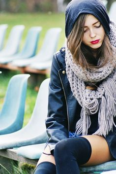 knitted scarf + knee highs.