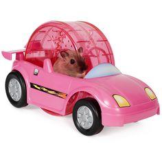 Pink hamster wheel car.