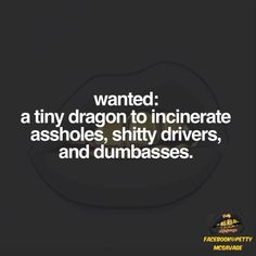 wanted: a tiny dragon to incinerate assholes, shitty drivers, and dumbasses.