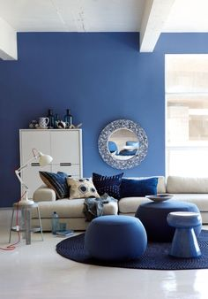 VISI / Articles / One Room, Four Looks Wall Colors, House Colors, Im Blue, Coloured Girls, Interior Design Advice, Blue Rooms, Blue China, Electric Blue, Color Trends