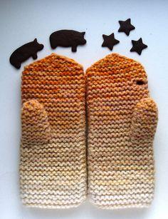 Knit mittens for women white orange beige ombre by MistyMittens