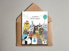 Cute Dog Crew Happy Birthday Card