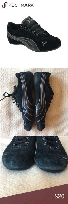 Black Suede Pumas Used condition. Bottoms still look great. Wear in certain spots, shown in photos. (Mostly the toes and heels) Puma Shoes Sneakers