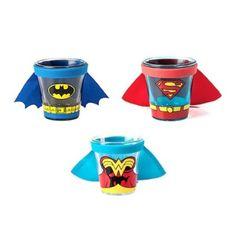 Amazon.com: Superhero Caped Shot Glasses - Set of 3 - Batman, Superman, Wonder Woman: Kitchen & Dining
