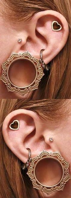 Unique Ear Piercing Ideas at MyBodiArt.com - Brass Tribal Ear Plugs, Gauges, Tunnels for Women - Heart Cartilage Earring - Crystal Tragus Stud #Piercings