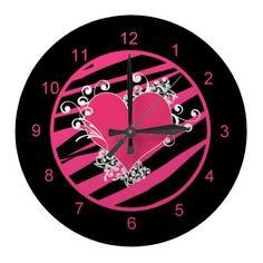 KRW Pink and Black Zebra Heart Diva Wall Clock