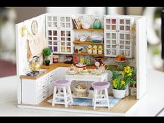 DIY Miniature Dollhouse Kit - Sweet Kitchen Room with Working Lights - YouTube