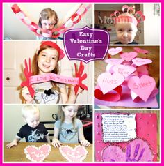 """Easy Valentine's Day Crafts For Kids. I especially like the popcorn hearts and the """"I LOVE YOU this much"""" card"""