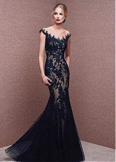 Buy discount Junoesque Tulle & Polka Dot Tulle Bateau Neckline Mermaid Evening Dresses With Lace Appliques at Dressilyme.com