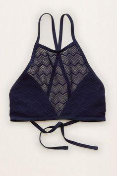Aerie Hi-Neck Crop Bikini Top, Navy | Aerie for American Eagle