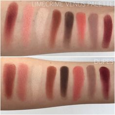 AS REQUESTED ✖️ Limecrime Venus Palette Dupes. Top photo is Venus Palette Swatches. Bottom photo, left to right is: @zoevacosmetics Copper Plate, @makeupgeektv Cosmopolitan, @anastasiabeverlyhills Soft Gold, @anastasiabeverlyhills Morocco, @anastasiabeverlyhills Rich Brown, @makeupgeektv Mango Tango, @makeupgeektv Barcelona Beach, @meltcosmetics Love Sick