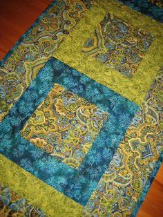 Quilted Table Runner Paisley Turquoise Green and by TahoeQuilts, $78.00