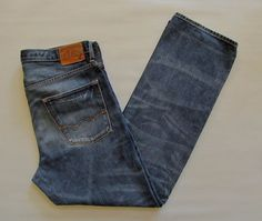 American Eagle Outfitters Jeans 36 34 Low Loose Medium Distressed Cotton Denim  #AmericanEagleOutfitters #BaggyLoose