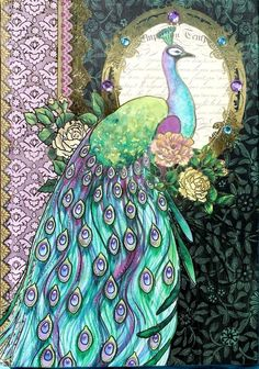 pOOCH & sWEETHEART Jeweled Note Book Journal - Watercolor Green Purple Peacock   | Books, Accessories, Blank Diaries & Journals | eBay!