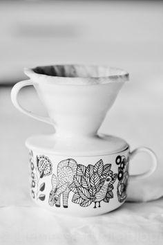 """Hario V60 Dripper"" coffee filter and Arabia ""Piilopaikka"" mug via  LIEMESSÄ - RUOKABLOGI"