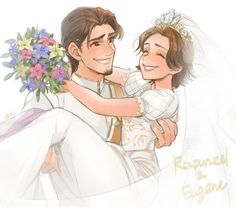 Flynn Rider carrying his bride, Rapunzel in his arms on their Wedding Day from Tangled Ever After Disney Kunst, Arte Disney, Disney Fan Art, Disney Love, Disney Magic, Disney Rapunzel, Rapunzel And Eugene, Tangled Rapunzel, Tangled Flynn