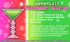 CHOCOLATE MERRI MINT CHRISTMAS MARTINI recipe on a Free Recipe Card - Click the image for the Full Sized, Print Quality Recipe Card!