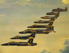 A collection BLUE ANGELS fighter jets Through The Years.