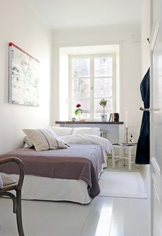 Bedroom, Narrow Bedroom Design For Couple With White Interior Color Decor Inspiring Ideas Plus Ceramic Floor Tiles And Bedside Table Plus Window With Indoor Plants Ideas: Small Bedroom Ideas: Maximizing your Own Small Bedroom Ideas For Couples, Cozy Small Bedrooms, Small Bedroom Designs, Guest Bedrooms, Small Rooms, Small Apartments, Narrow Bedroom Ideas, Small Space, Guest Room