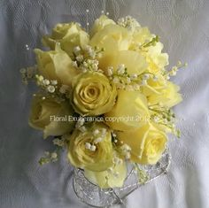 Wedding Bouquet Of Yellow Roses & White Lily Of The Valley