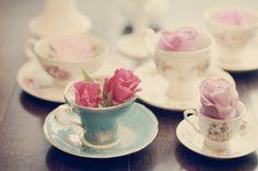 I love my vintage tea cups. Windows 7 Themes, All Things Cute, Strawberry Shortcake, Vintage Colors, Vintage Tea, High Tea, It's Your Birthday, Decoration, Tea Time