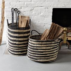 Love the baskets! Makes carrying in wood easier, and they are cute!