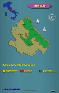 A map of Abruzzo wine region in Italy with details of doc and docg appellations Brunello Di Montalcino, Wine News, Wine Tourism, Piedmont Italy, Wine Education, Wine Guide, Regions Of Italy, Italian Wine, Wine And Beer