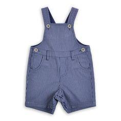 Braga EPK estilo overall para bebe niño de rayitas azules.