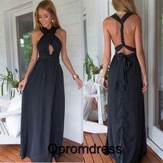 Sexy black chiffon full-length A-line halter cross back long prom dresses
