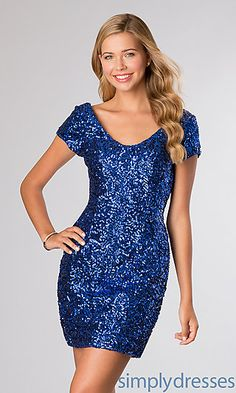 Short Sleeve Sequin Dress by Alyce Paris 4397 at SimplyDresses.com