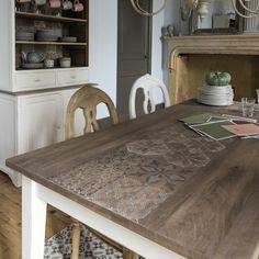 Tavolo bianco in mango per sala da pranzo L 180 cm