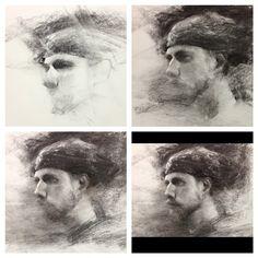 Charcoal progression! (Model: Pete Diedrich) #art #hsinyaotseng #charcoaldrawing…