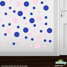 Baby Pink / Blue Polka Dot Circles Wall Decals #stickers #decals #decalvenue