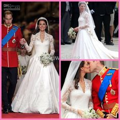 Wholesale Luxurious Royal Wedding Kate Middleton V-neck Long sleeves Lace A-line Bridal gown Wedding dresses, Free shipping, $340.91/Piece | DHgate