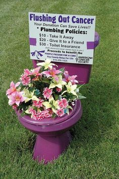 Flushing Out Cancer Fundraising Idea. Basically, you drop the potty on a lawn, and the homeowner has to pay to have it removed. $10 for removal, $20 to move it to a friend's house, and $30 for the above + the promise that it won't come back to them. http://hative.com/fun-creative-fundraising-ideas/