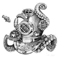 Risks And Rewards Of Scuba Diving Helmet Tattoo, Mask Tattoo, Scuba Diving Tattoo, Helmet Drawing, Octopus Drawing, Illustration Photo, Octopus Tattoos, Pirate Skull Tattoos, Diving Helmet