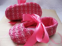Pink baby shoes for girls soft sole fabric by allthingsforbaby, $30.00