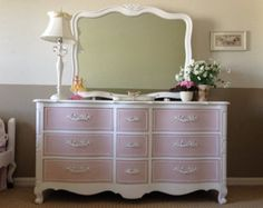 SOLD- Charming, Romantic Pure White and Antoinette Pink Dresser