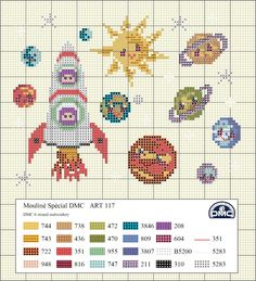 Outer space cross stitch.