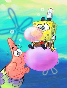 Sponge Bob & Patrick blowing bubbles with Pink Bubble gum art