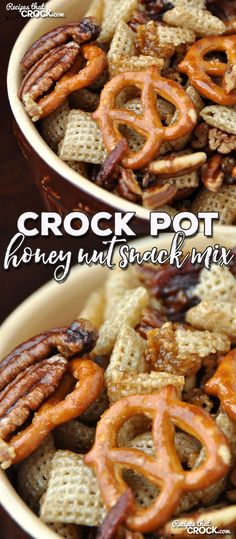 This Crock Pot Honey Nut Snack Mix is sweet with just a hint of salty. Better yet, it is super easy to make! It is sure to be a hit at any party or just to have around the house! Trail Mix Recipes, Snack Mix Recipes, Crock Pot Desserts, Crock Pot Cooking, Sweet And Salty Trail Mix Recipe, Salty Snacks, Super Easy, Cooker Recipes, Crockpot Recipes