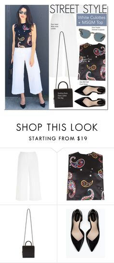 """Street Style-White Culottes + MSGM Top"" by kusja ❤ liked on Polyvore featuring River Island, MSGM, Building Block, Zara, Oliver Peoples, StreetStyle, croptop and culottes"