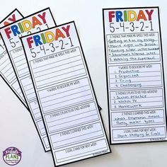 Bring a bit of positivity into your classroom tomorrow with this free resource called Friday ❤️ Students fill out the sheet by jotting down 5 things Teacher Binder, Teacher Planner, Teacher Stuff, Organized Teacher, School Planner, Teacher Hacks, Classroom Organization, Classroom Management, Behavior Management