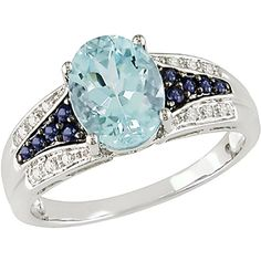 2-1/5 Carat T.G.W. Blue Topaz, Sapphire and Diamond Accent Ring in 10kt White Gold