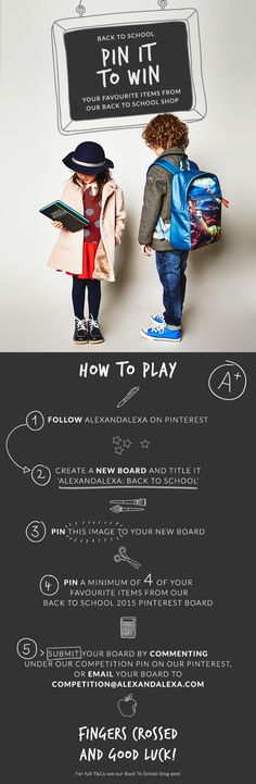 It's COMPETITION TIME! Follow the instructions on this pin for a chance to win your favourite items from our Back To School shop | AlexandAlexa