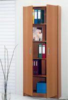 Estantería con 5 repisas y puertas. Colores Disponibles: Blanco, Haya, Peral, Cedro, Wengué. Medidas: 81 X 31 X 203 cm